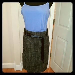 Kenneth Cole satin belted tweed skirt